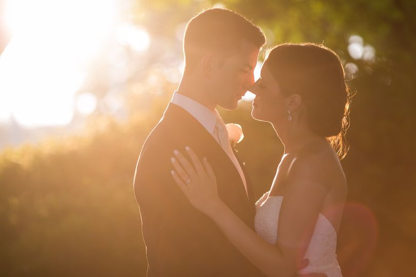 Sun kissed bride and groom