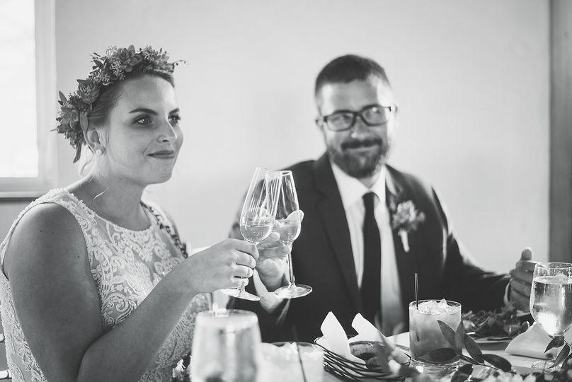 Toasting the newlyweds