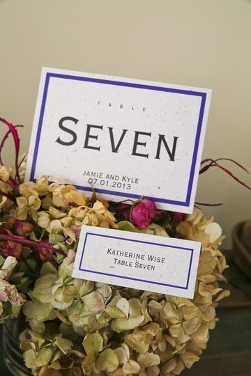 Matching place card and table card set on Eco Banana Paper with Navy Single Line Border and...
