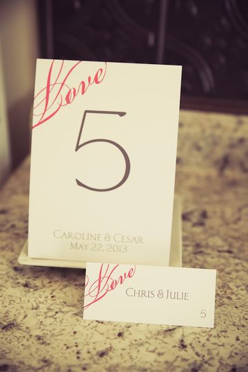"Fuchsia ""In Love"" Place Card and Table Card set printed on our Classic White paper with guest names..."