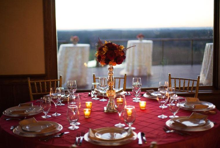 Candle-lit table set-up