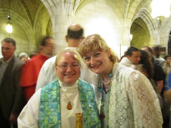 Rev. Allyson (left) at her ordination, with Rev. Annie Lawrence (right) beside her.