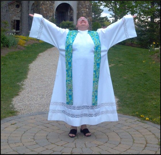 Rev. Allyson enjoying a moment at The Cathedral of the Pines in Rindge, NH