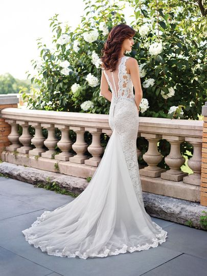 Lace back trumpet dress