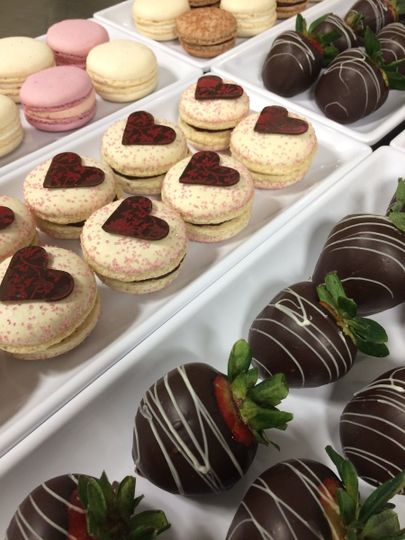 macarons and chocolate covered strawberries