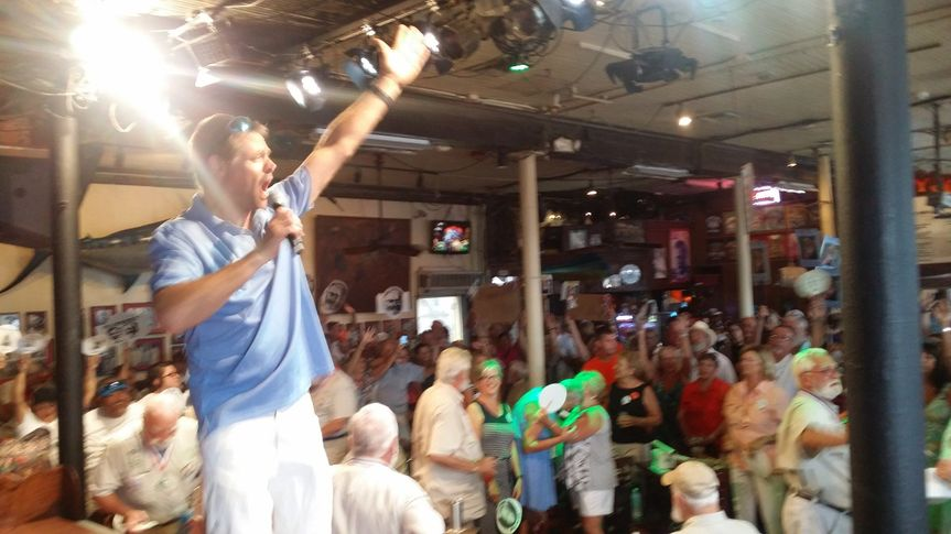 On stage at Sloppy Joes Bar , Key West, Florida for the 33 annual Hemingway Days Festival.  DJ...