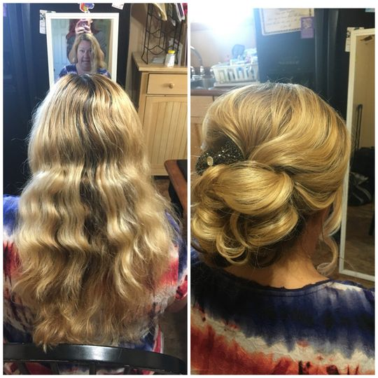 Before and after Bridal Hair