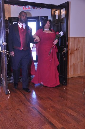 Bridesmaid and groomsman