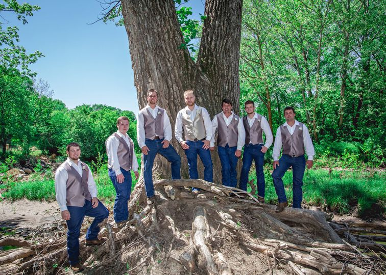 Groom with his groomsmen Photo by Crooked River Farm Photography LLC