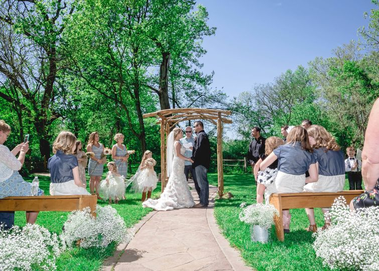 Spring Wedding ceremony. Photo by Crooked River Farm Photography LLC
