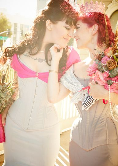 Real brides in Dollymop for Dark Garden (left) and Pop Antique for Dark Garden (right) corset gowns....
