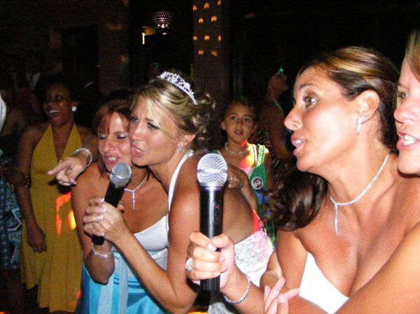 Bride and her ladies on the mics