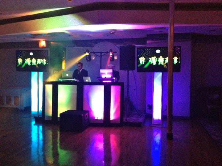 2 flat screens, basic lighting, Dj Set Up
