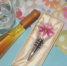 Pink Daisy Murano Glass Bottle Stopper Favors. See them here: http://goo.gl/KtuD9