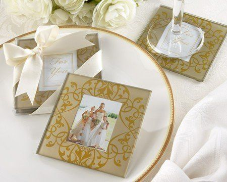 Golden Brocade Glass Photo Coasters from Kate Aspen. See them here: http://goo.gl/BoUiU