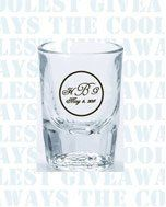 Drink to your new marriage with our 2 oz clear shot glass.