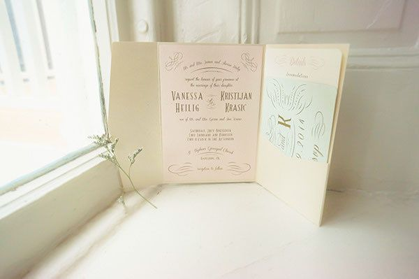 Blush Mint & Champagne Romantic Summer Wedding Invitation Suite