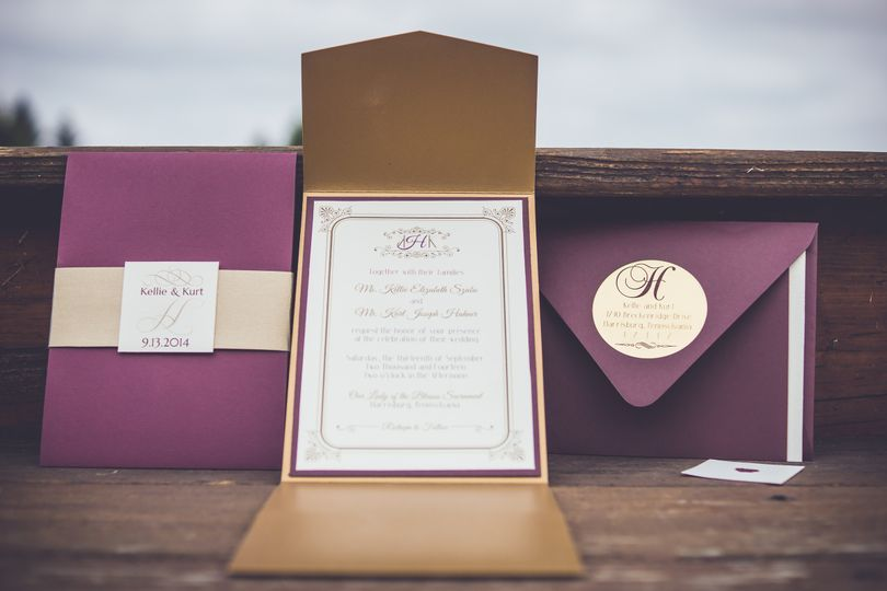 Formal Burgundy & Gold Invitation Suite