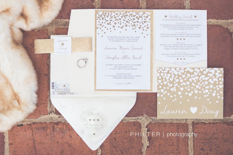 Glitter & Gold Winter Wedding Invitation Suite