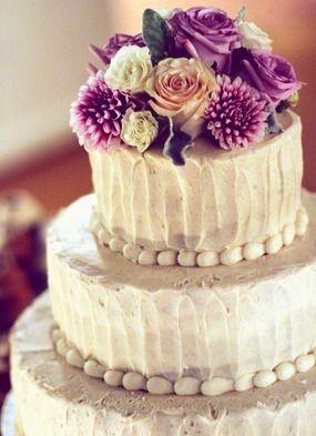 Purple flowers on top