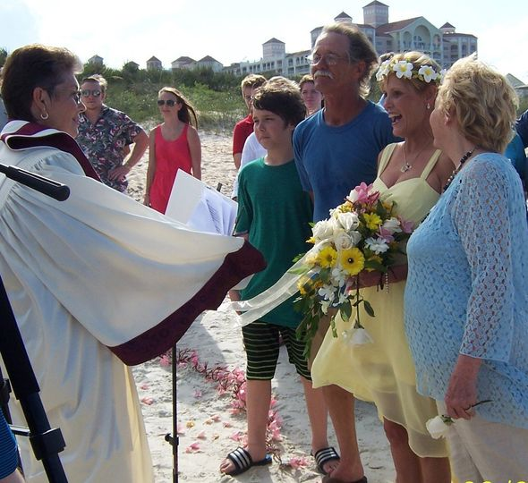 The officiant with attendees