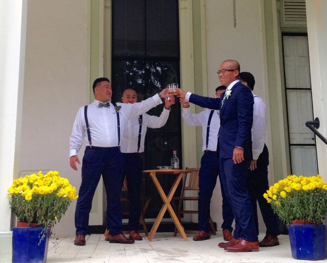 The groomsmen on south porch