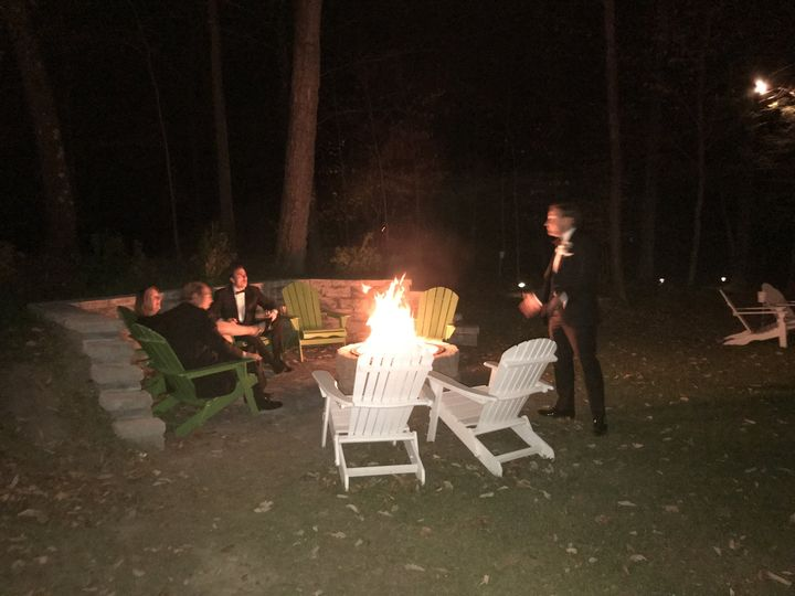 Adirondack chairs and fire pit