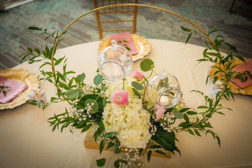 Floral hoop centerpieces