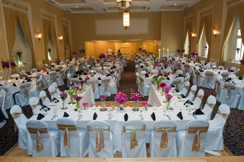 Table setup with creative floral centerpiece