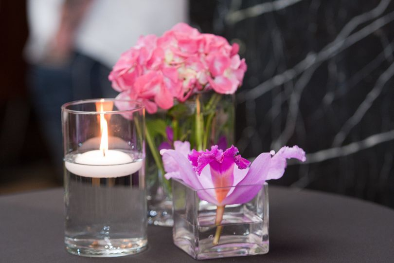 Candle and floral decoration