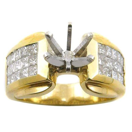 18K Yellow Gold Invisible Channel Set Princess Diamond Ring