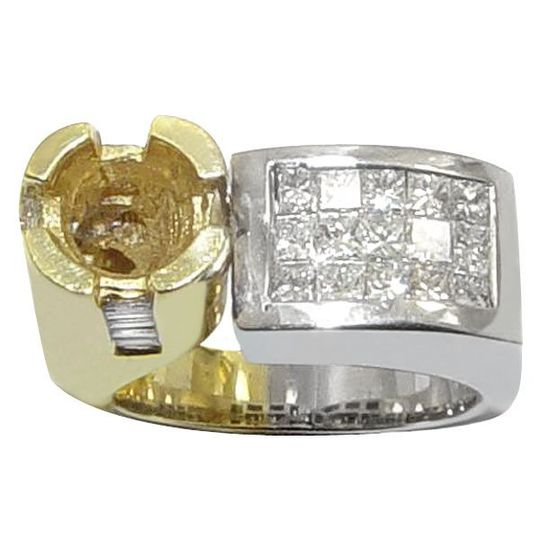18K Two Tone Invisible Set Princess Diamond Ring