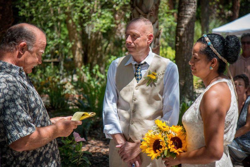 Ceremony under oak tree