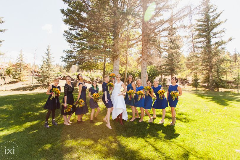 Fun bride and bridesmaids