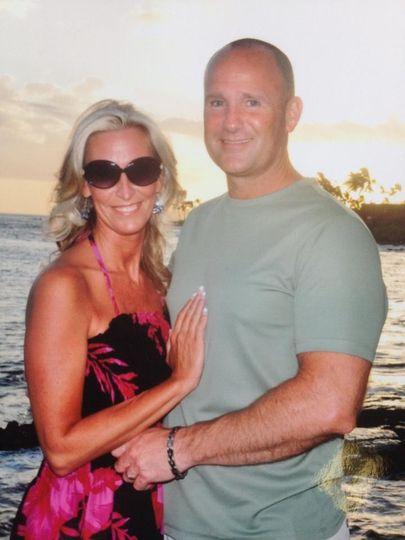 Honeymoon couple at sunset on Kauai
