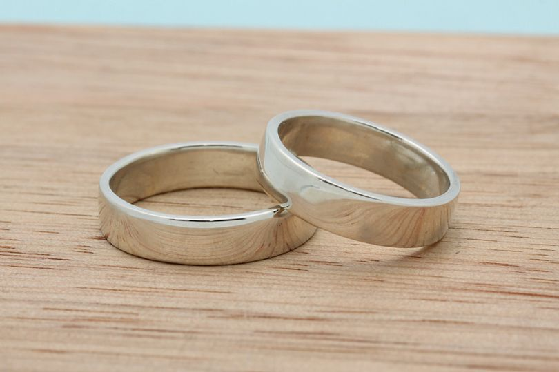 Recycled sterling silver flat bands.