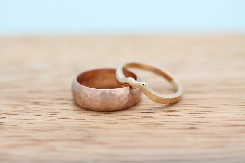 Hand carved bands in recycled rose and peach gold