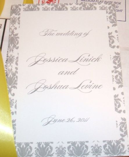 Beautiful book style program, cover shown here matches gray and yellow wedding invitation suite but...