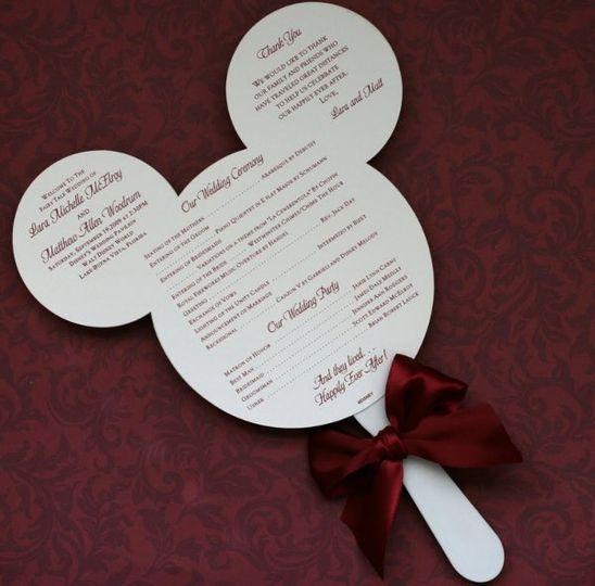 Perfect for destination wedding, or if doing a disney themeMickey Mouse head diecut wedding program,...