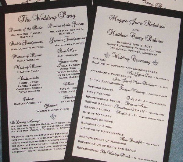 Classic tea length double sided matted wedding program,Any color pallette you would like we can do,...