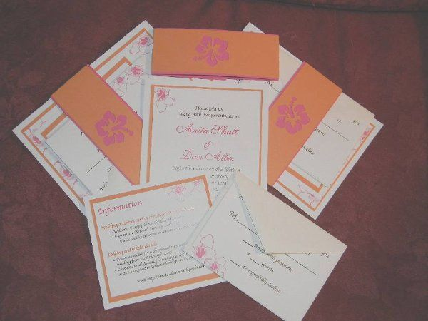 Beautiful hibisbcus flower invitation with custom diecut belly band to hold custom set together.Set...