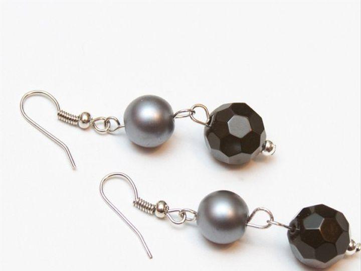 Tmx 1297299444619 GraypearlandblackcrystalearringsW Janesville wedding jewelry