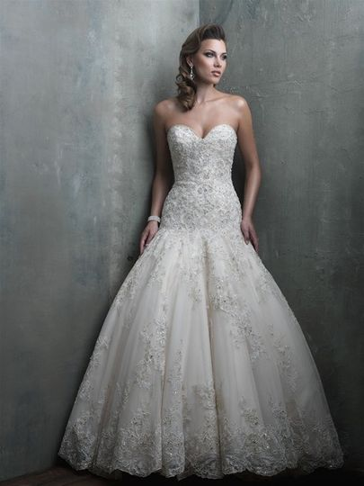 Strapless lace wedding gown