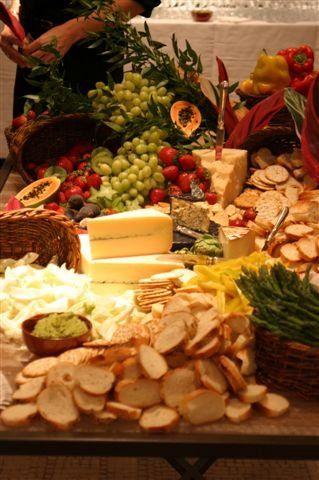 Seasonal fruit, cheese and vegetable display
