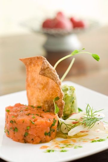 Trio of smoked salmon, avocado and fennel salad
