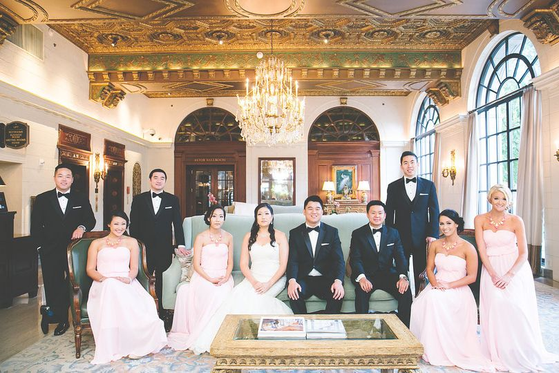 The newlyweds and the wedding attendants