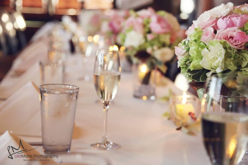 Champagne and table setting