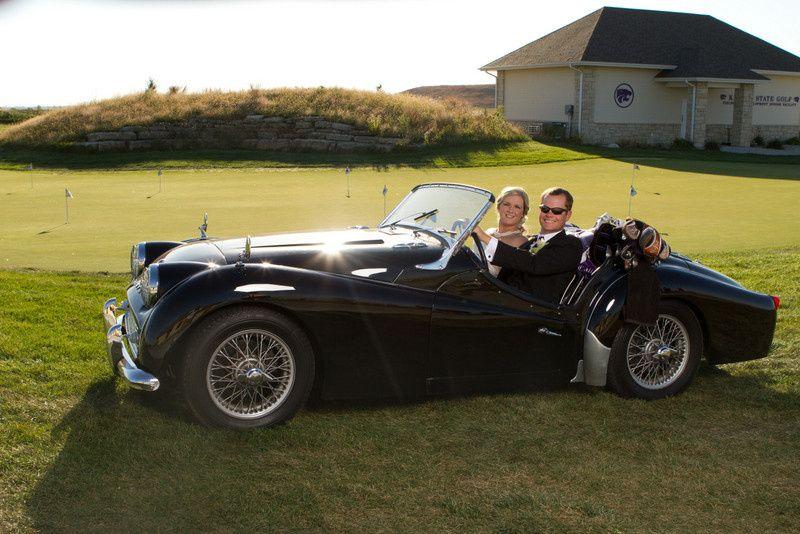 Newlyweds' wedding car