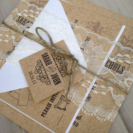 Rustic Wedding Invitations with Kraft Cardstock, Ivory lace and a twine tie.