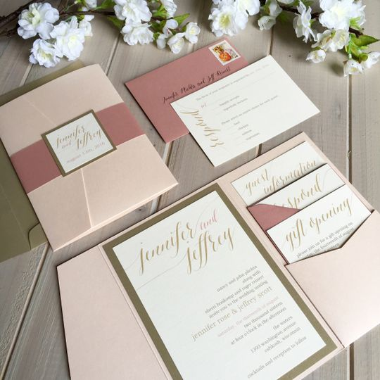 Pale pink, dark blush and ivory pocket invitation with shimmer gold accent